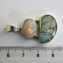 Load image into Gallery viewer, Solid Boulder & White Opal Pendant in Sterling Silver Bezel