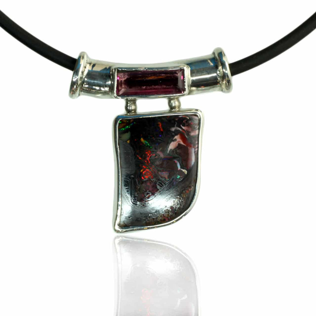 Green, Orange & Red Solid Boulder Opal Pendant
