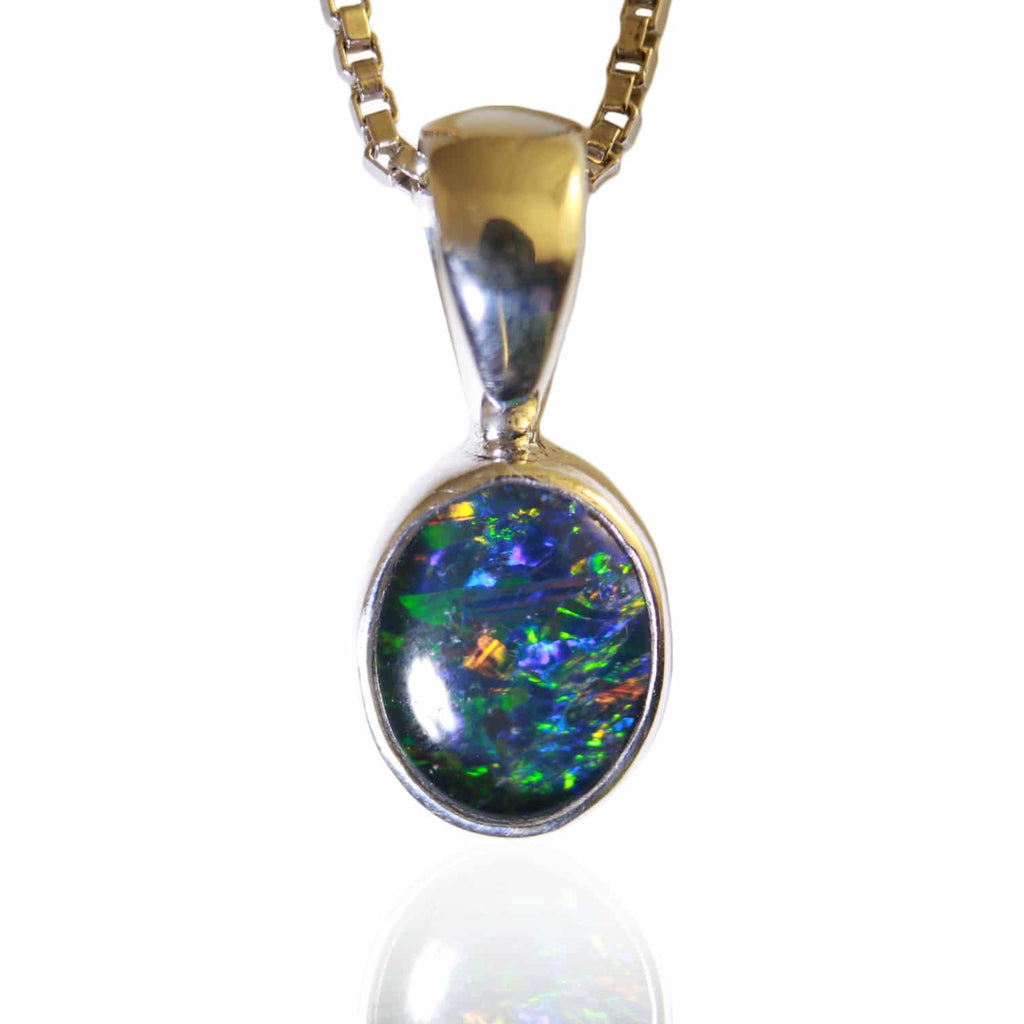 Blue, Green, Yellow & Red Triplet Opal Pendant
