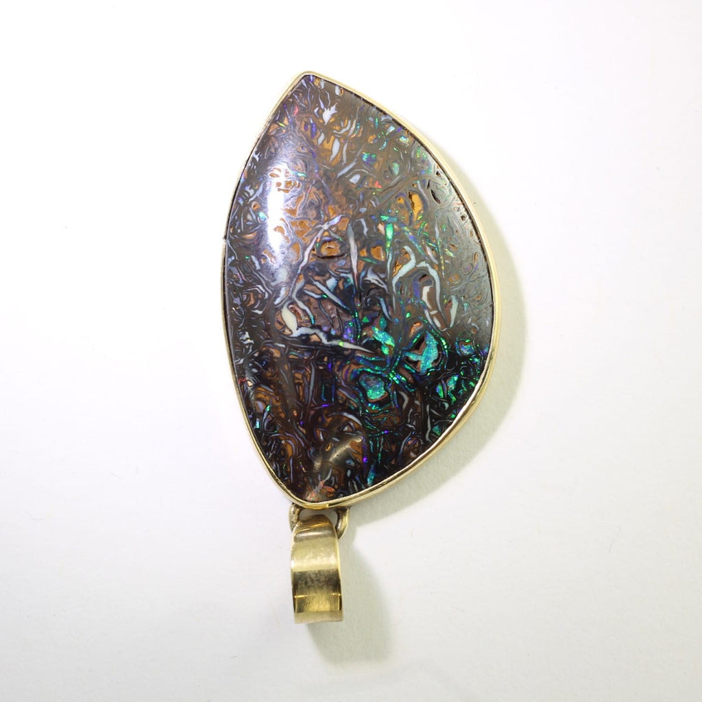 Green & Blue Solid Opal Pendant