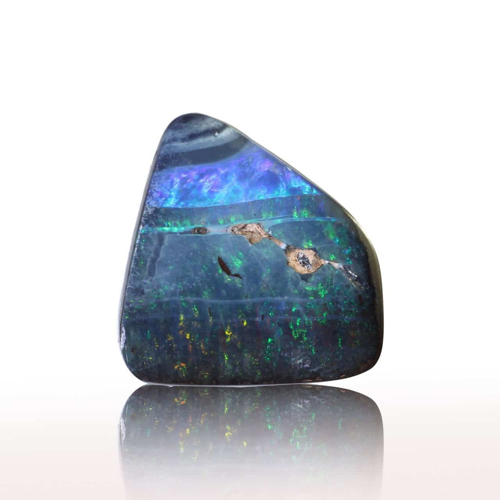 Boulder Solid Opal with Green, Blue & Red Colours