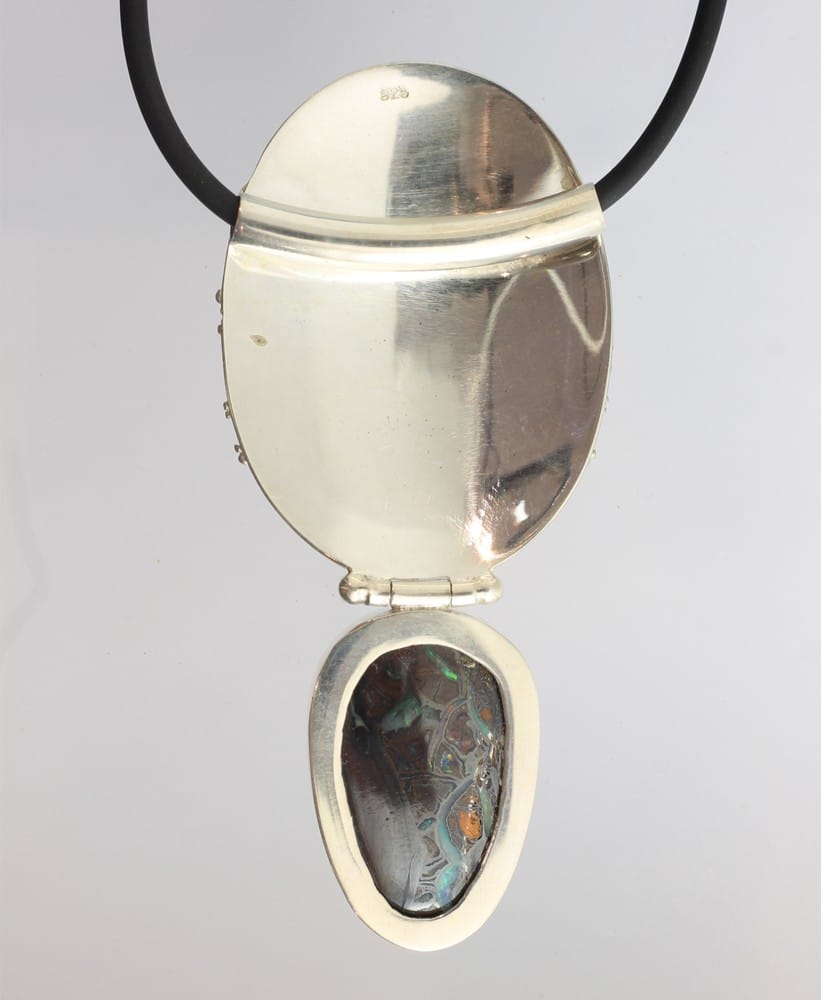Solid Yowah Opal Pendant with Silver Disc