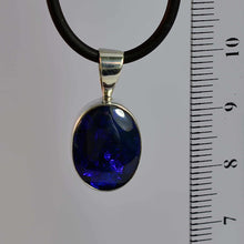 Load image into Gallery viewer, Blue & Purple Black Opal Silver Bezel