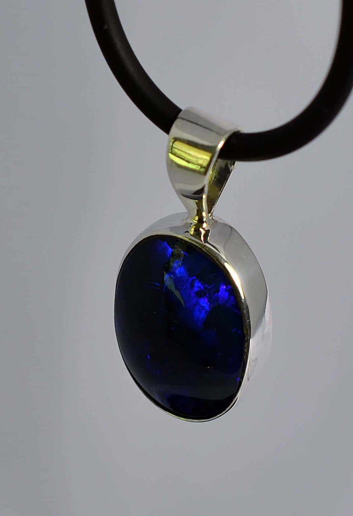Blue & Purple Black Opal Silver Bezel