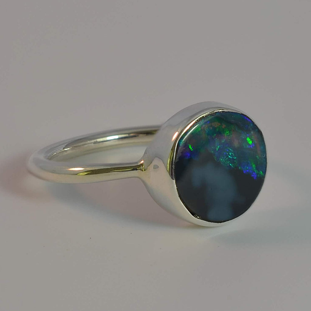 Vibrant Green and Blues Solid Opal Sterling Silver