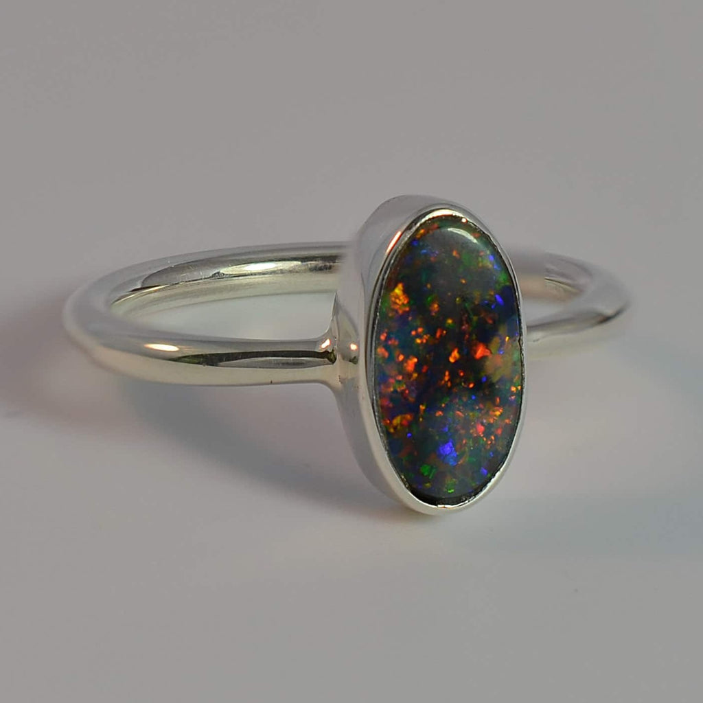Bright Reds and Orange Solid Opal Sterling Silver