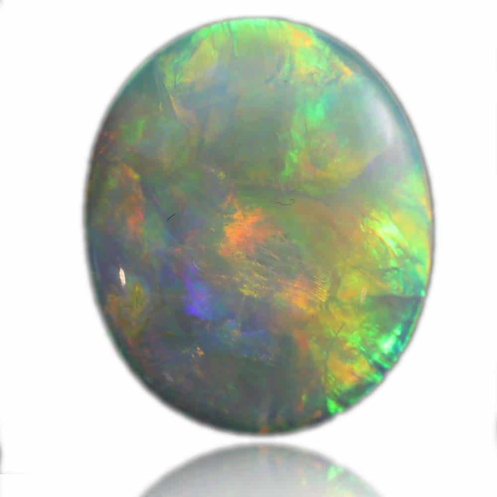 Red, Orange, Green & Blue Solid White Opal