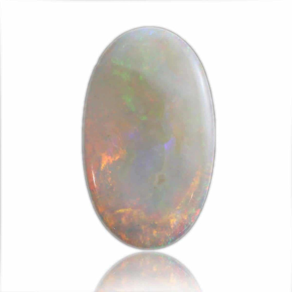 Opaque Solid White Opal with Red Orange Flash