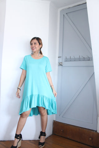 TSHIRT RUFFLES LONGBACK DRESS / COTTON SPANDEX
