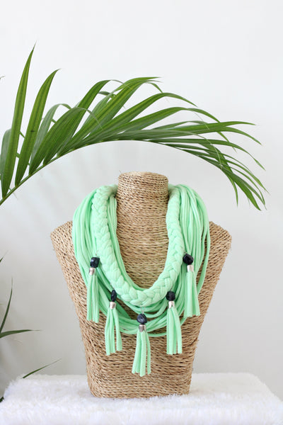 Short Necklace w/ fringe and beads