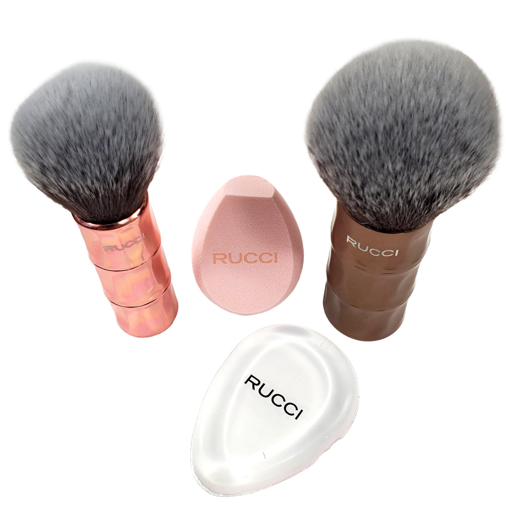 Rucci Cosmetic Brush Set (4 Piece) Powder & Bronzer Brush, Blender, Sponge (CC462)