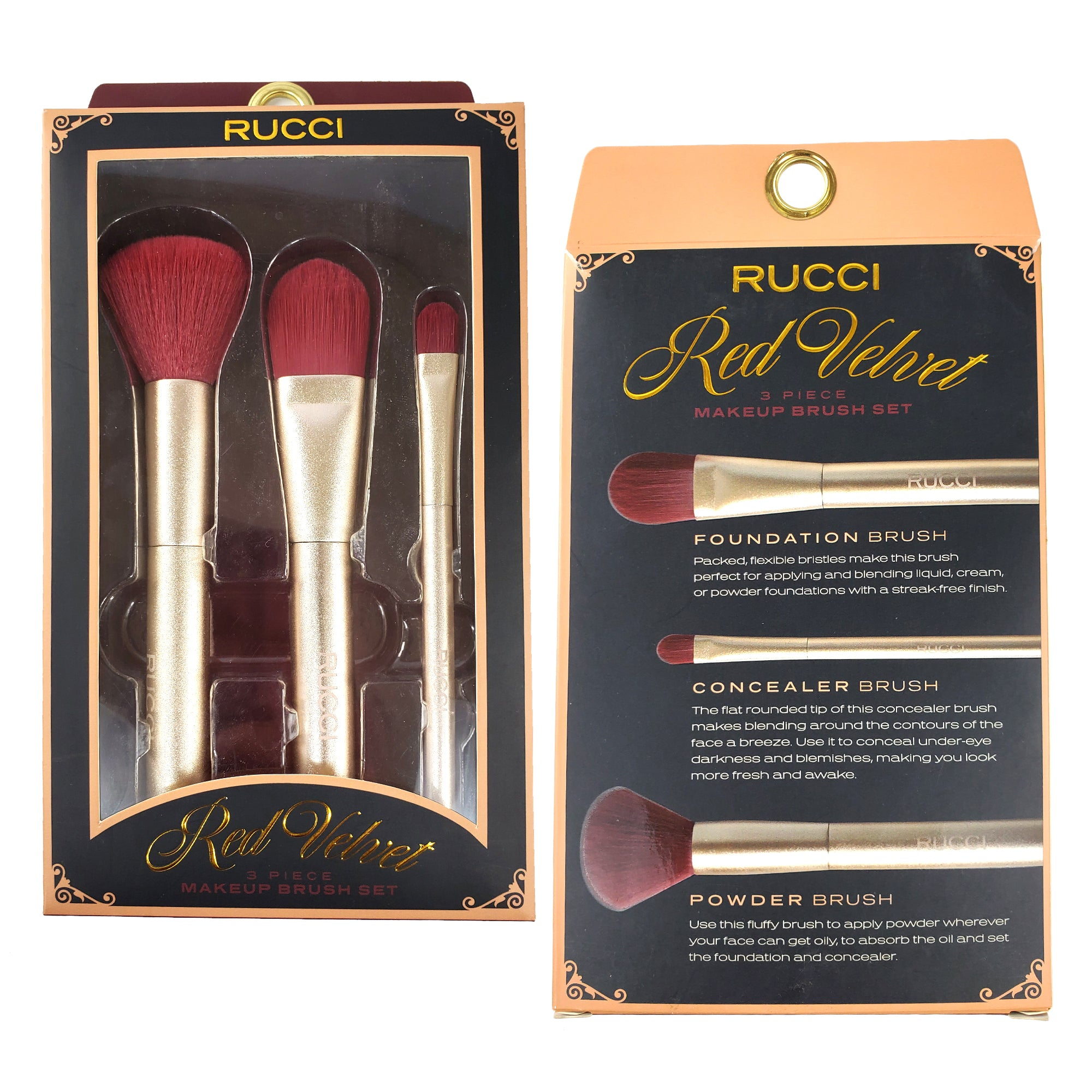 Rucci Red Velvet Cosmetic Brush Set (3 Piece) (CC470)