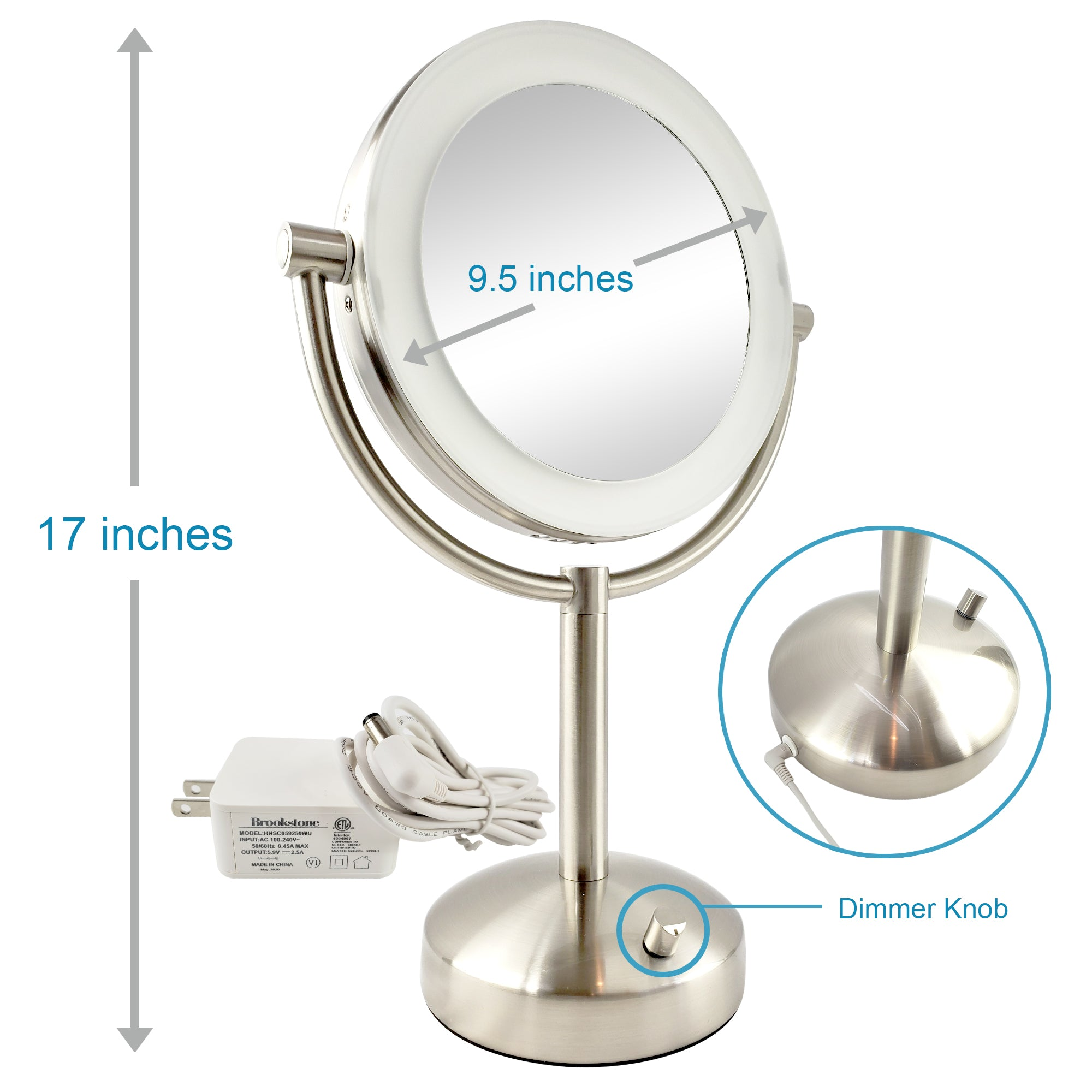 Natural Light Makeup Vanity Mirror, 10x/1x Magnification & Chrome Finish by Brookstone