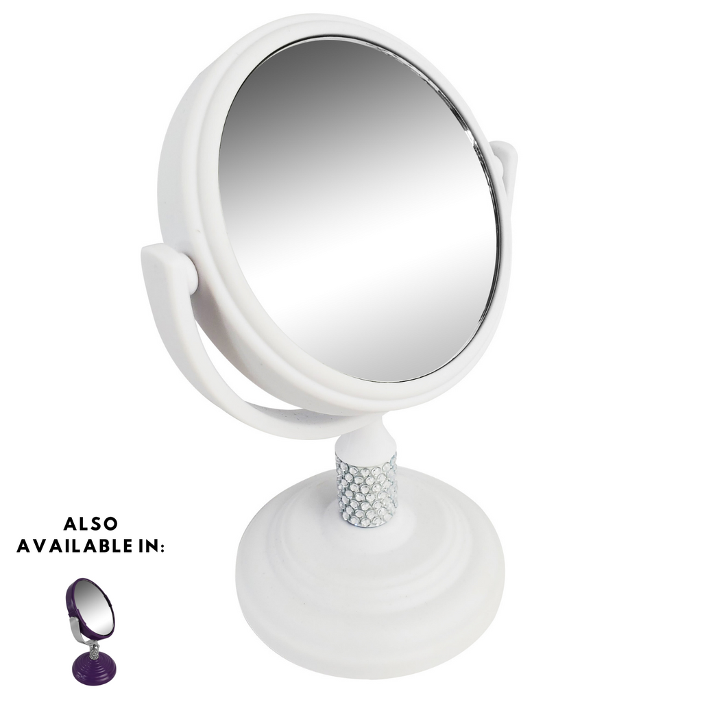 Rucci Mini Soft Touch Vanity Mirror with 4x Magnification Crystal Neck Design (M980/PR | M981/W)