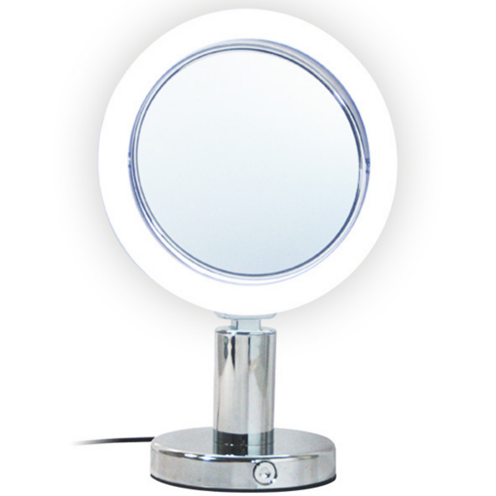 Chrome Led Light Stand Mirror 7X