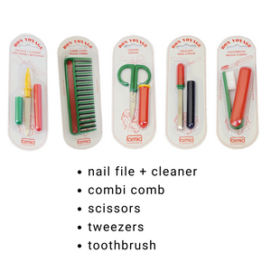 Travel Kits Nail File, Comb, Scissors, Toothbrush, Tweezers, Nail Clippers, Nail Brush 5 Pc Set / Display (HC200)