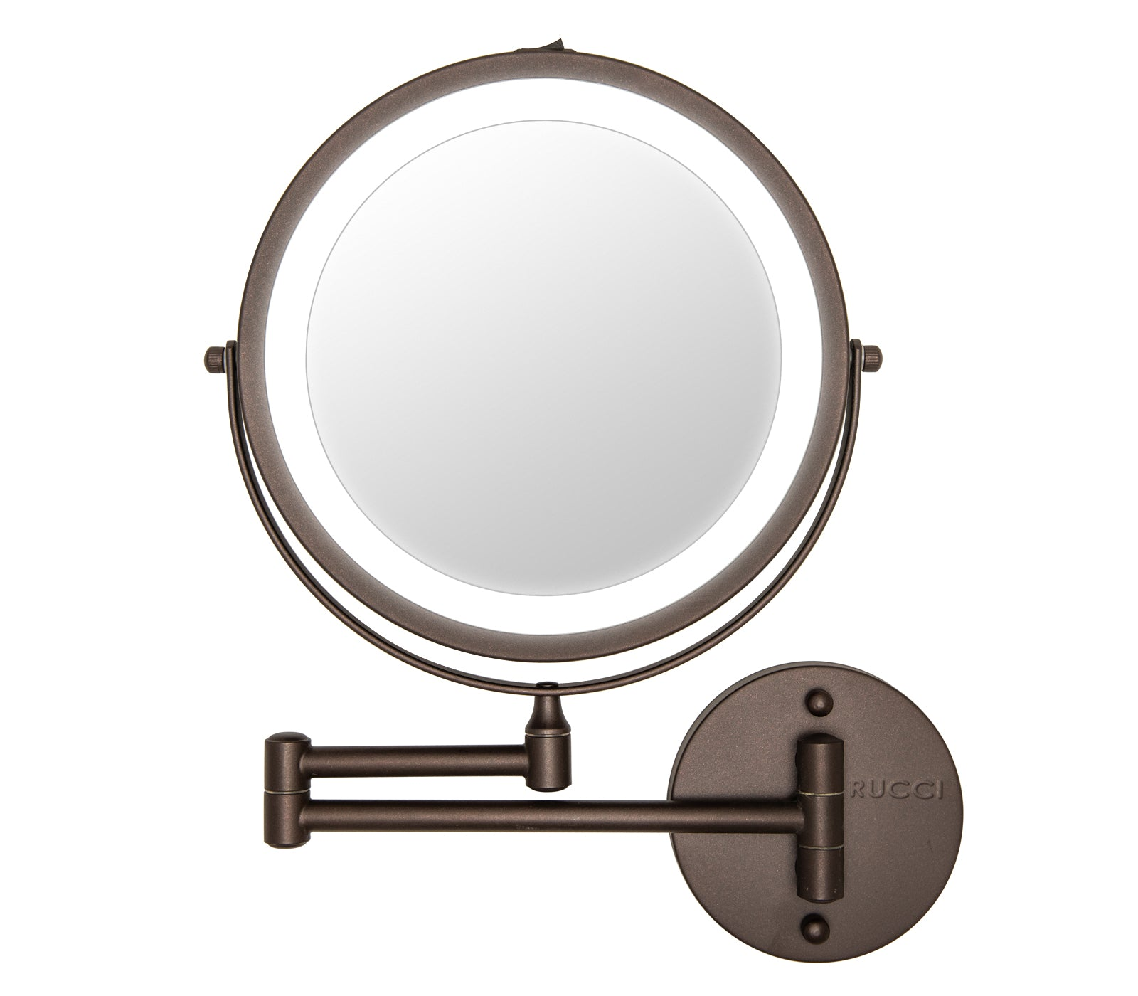 Modern Lighted Magnifying Wall-Mount Makeup Mirror Oil Brushed Bronze Finish