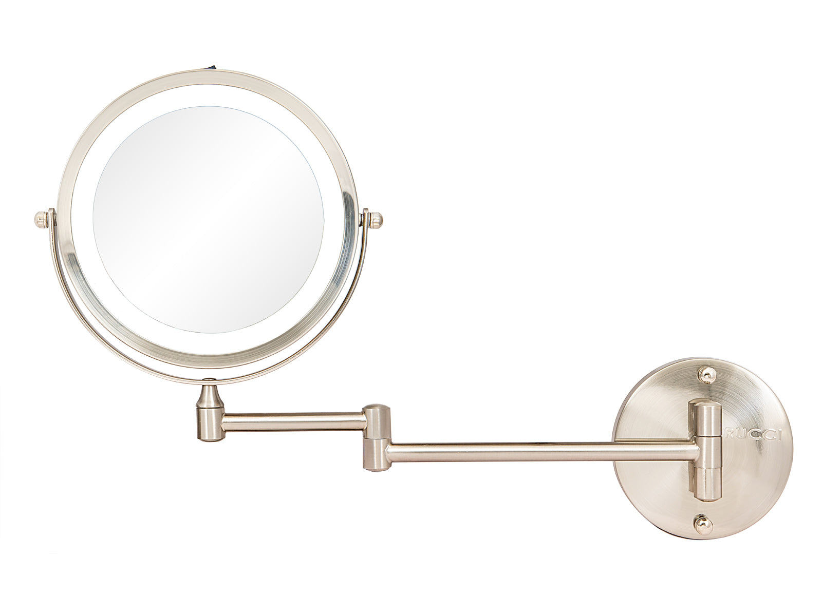 Modern Lighted Wall Mount Magnifying Makeup Mirror - Battery Operated 1X & 10X (M1001 / M1002)