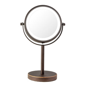 Lighted Table Top Makeup Glamour Mirror Oil-Rubbed Bronze or Polished Chrome Finish (M402)