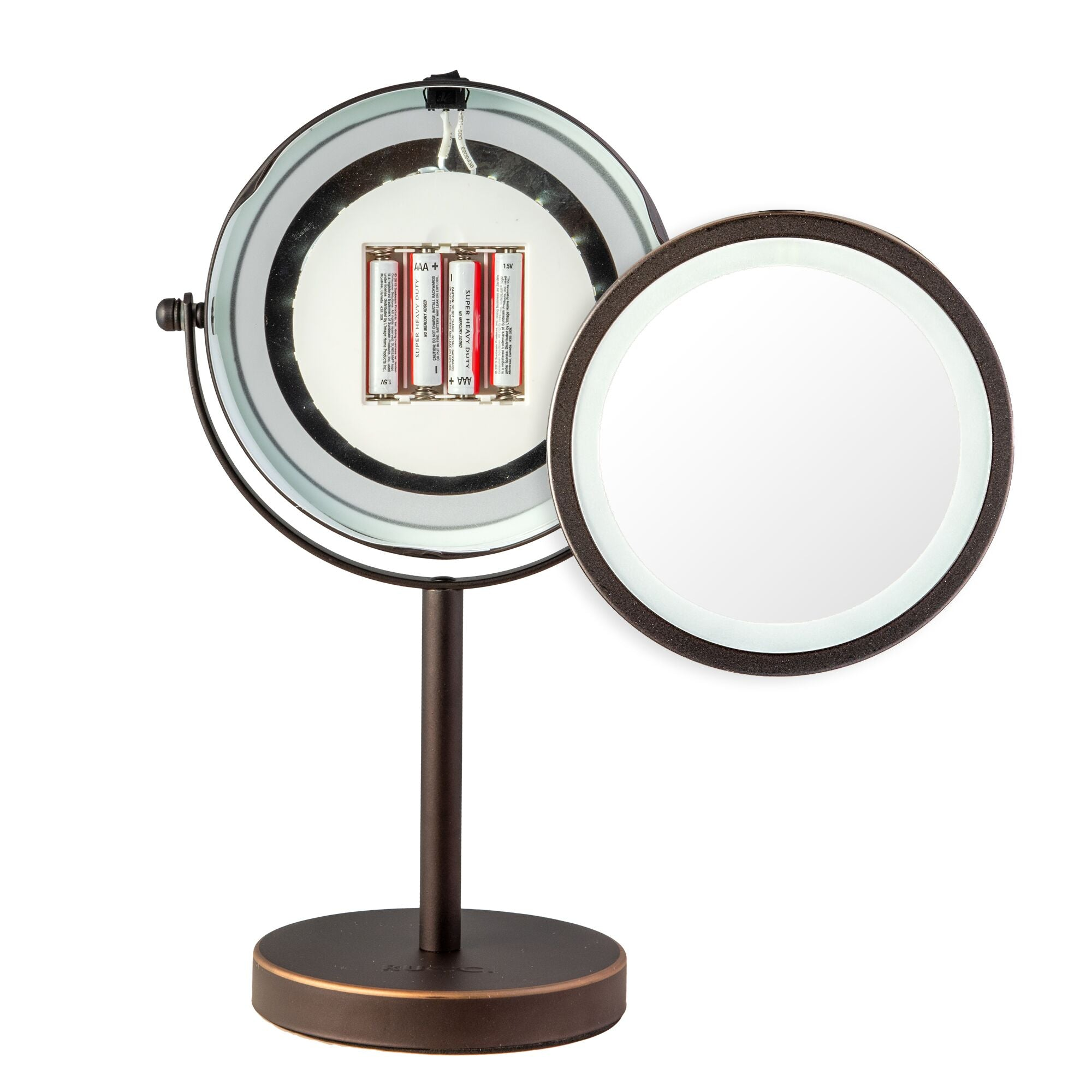 Lighted Table Top Makeup Glamour Mirror Oil-Rubbed Bronze Finish