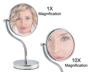Rucci Double-Sided Diamond-Adorned Design Magnifying Makeup Mirror (M403)