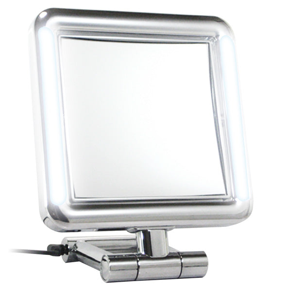 Chrome Led Light Square Stand Mirror 7X