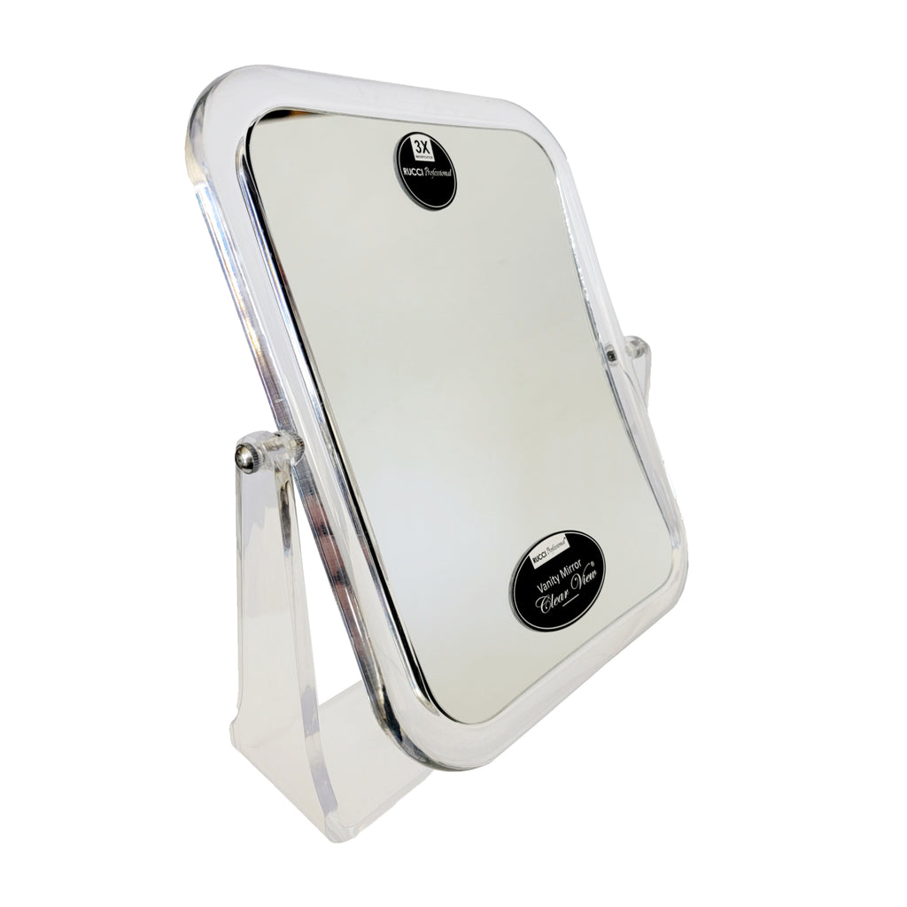 Makeup Vanity Rectangle Clear Acrylic Dual Magnifying Mirror 3x / 1x (M942)