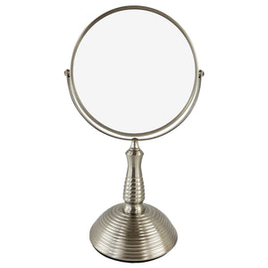 Satin Nickel 7X Magnifying Table Top Mirror