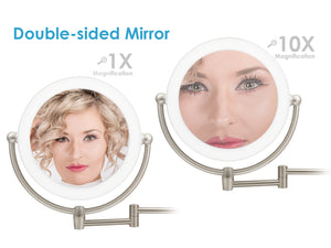 Makeup Vanity LED Wall Mount Magnifying Mirror with Metal Frame