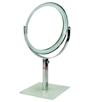 Acrylic Frame Round Make Up Mirror With Metal Adjustable Holder & Glass Base (M843)