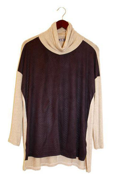 Cowl Neck Two Tone Top