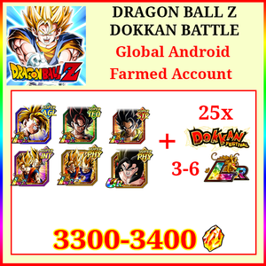 [Global][Android] Dokkan Battle Farmed Account 3300-3400DS💎8-11 LR 25 limited AGL Gohan Gogeta Vegito Goku&Vegeta