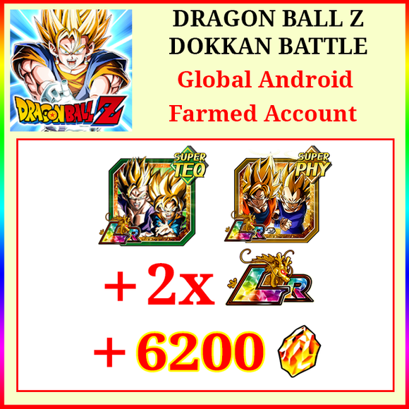 [Global][Android] Dokkan Battle Farmed Account 3300-3400DS💎Gobro Goku&Vegeta 2LR