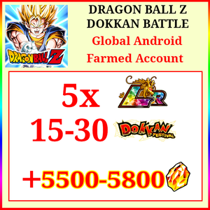 [Global][Android] Dokkan Battle Farmed Account 5500-5800DS💎5x LR 15-30 Dokkan Limited