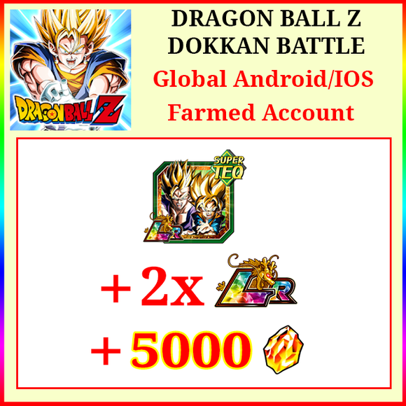 [Global][Android/IOS] Dokkan Battle Farmed Starters with 5000DS LR Gobro 2 LR