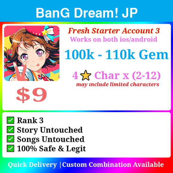 [Japan] BanG Dream! Bandori Jackpot Starter 110000💎 Ton of Resources