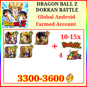 [Global] Dokkan Battle Farmed Account 3300-3600DS💎9 LR 10-15 Limited Teq Gohan Goku Goku&Vegeta Gogeta Gobro