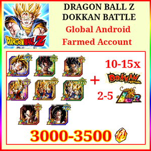 [Global] Dokkan Battle Farmed Account 3000-3500DS💎10-15 LR 10-15 limited Gohan Gogeta Vegito SS4 Goku SS4 Vegeta Gobro
