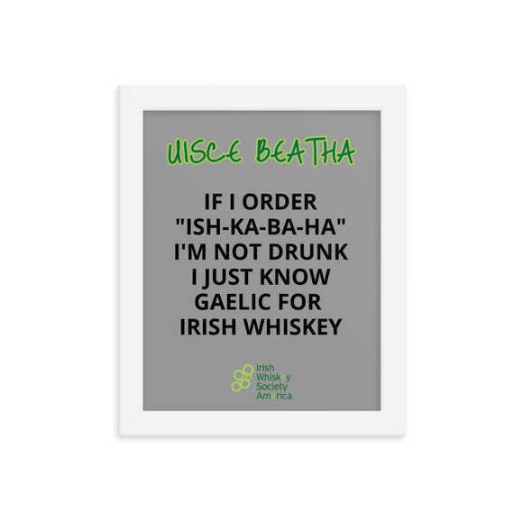 Uisce Beatha - Framed grey poster