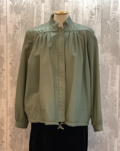 Pale Green Leather Jacket UK 14