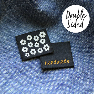 Double sided 'Handmade / Flowers' woven label x 6