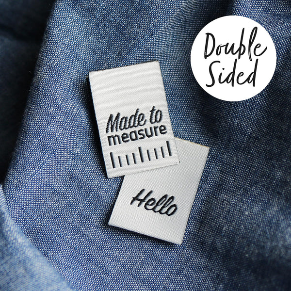Double Sided 'Made to Measure' / 'Hello' Woven label x 6