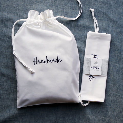 Hand Printed 100% Cotton Gift Bag - Handwritten Design