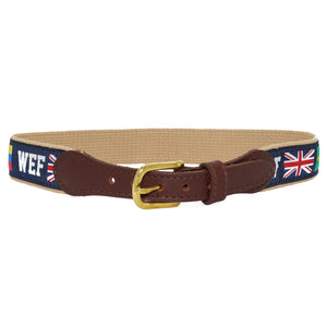 Ideal for every day, this canvas and nylon ribbon belt features a brass buckle sewn into genuine leather and is decorated with WEF in a block font and varying international flags of countries represented at WEF.