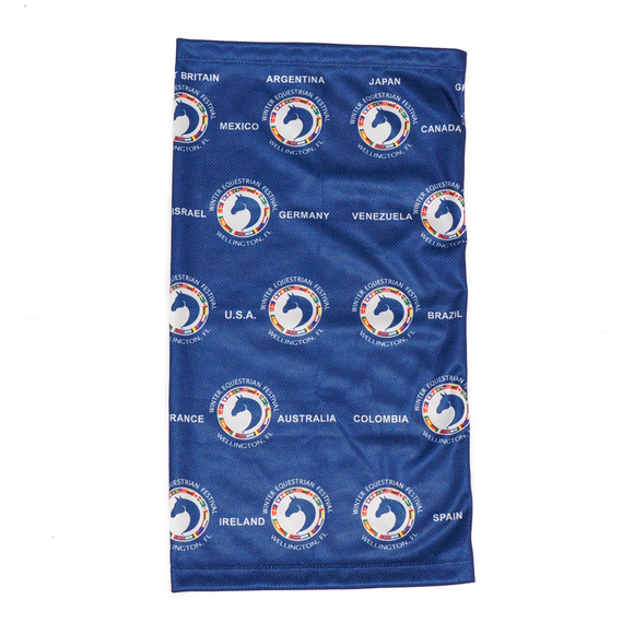 This neck gaiter is all about comfort and breathability while staying safe, and features the WEF Flags emblem as well as the names of countries who attend the Winter Equestrian Festival.