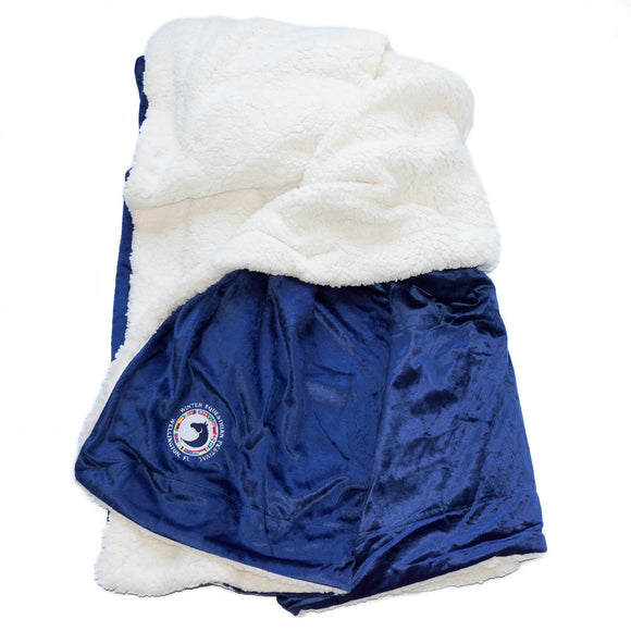 Measuring at 72in by 60in, this oversized blanket is perfect for curling up on the couch and features a silky microfleece outer layer and a super soft sherpa fleece lining and the WEF Flags emblem embroidered on the corner.