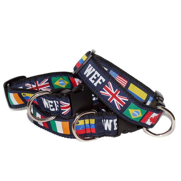 Have your pup stand out! Made to be durable as well as comfortable this nylon dog collar features WEF in a block font, as well as multiple international flags.