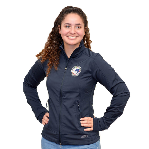 An all-time favorite, this softshell full-zip jacket features exterior handwarmer pockets, a cadet collar, knit thumb holes to keep hands warm, and princess seams for a feminine fit, as well as the WEF flag emblem embroidered on the left side of the chest.
