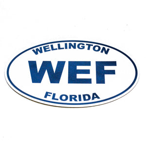 "This white oval magnet features a black border and ""WEF"" in a black block font."