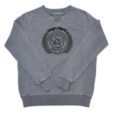 This french terry sweatshirt is specially dyed for a unique distressed look and features a ribbed waistband and cuffs, panel sides, as well as the WEF Crest embroidered across the chest.